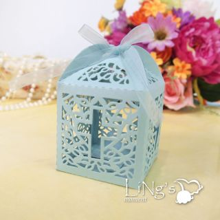 48pcs Blue Cross Pattern Laser Cut Gift Candy Boxes Wedding Party Favor Box