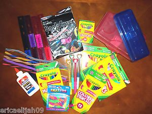 New Back to School Supplies Rulers Pencils Glue Markers Crayons Erasers Pens
