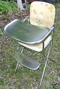 Vintage Metal Chrome Folding High Chair Cosco Original Paint Cusions Great Shape
