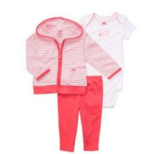 Carters Baby Girl Clothes 3 Piece Cardigan Set Red White 3 6 9 12 Months