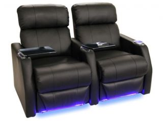 Seatcraft Sienna Home Theater Seating 2 Black Seats Power Recliner Chairs