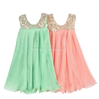 Girls Vintage Sequins Collar Pleated Chiffon Flower Party Dress Sz 3 4 5 6 7