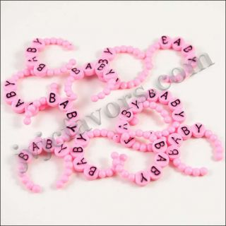 48 Bracelet Girl Pink Baby Shower Favor Cupcake Topper Decor Party Decorations