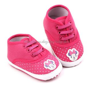 Baby Girls Fushsia Minnie Mouse Soft Sole Shoes Sneakers Newborn to 18 Months