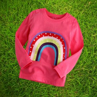 "Vaenait Baby Toddler Kids Girl Clothes Long Top Tee Shirts ""Pink Rainbow"" M"