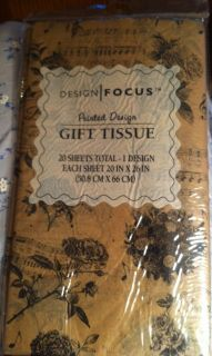 Tan Black Design Focus Antique Look Floral Musical Themed Gift Tissue Pack