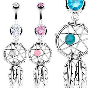 Dream Catcher Woven Star w Bead Feathers Gem Belly Ring Navel Clear Pink Aqua