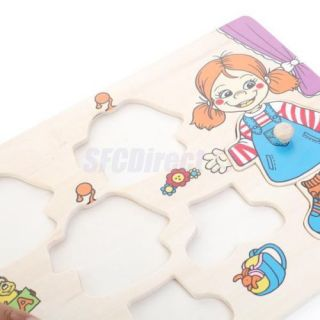 Wooden Preschool Kids Learning Puzzle Girl Winter Clothes Changing Jigsaw Puzzle
