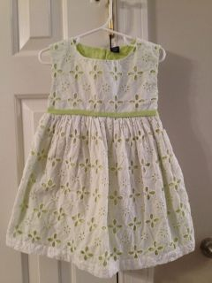 EUC Baby Gap 3T Easter Spring Summer Party Dress White Green Eyelet