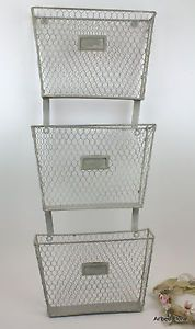 3 Tier Primitive Iron Metal Wall Mounted Basket File Folder Magazine Holder Wire