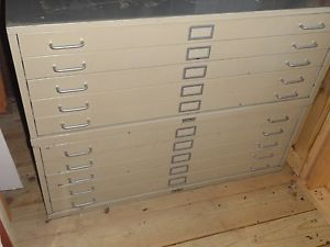 Blue Print Cabinet Flat File Filing Art Map Office Storage