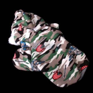 Camo USA Flag Hooded Coat Jacket Cotton Clothes w Flocking Lining for Pet Dog