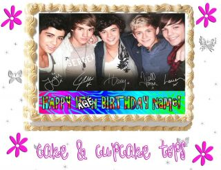 One Direction Edible Cake Cupcake Topper Picture Image Paper Sugar Tops