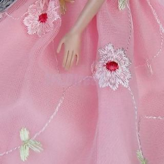 Pink Princess Party Elegant Clothes Dress Gown w Sequin for Barbie Dolls New