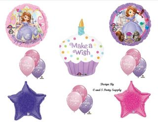 Sofia The First 1st Cupcake Happy Birthday Party Balloons Decorations Supplies