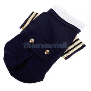 Pet Dog Sailor Costume Navy Suit Uniform Cosplay Makeup Party Halloween Size M