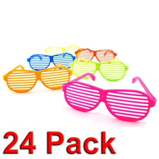 New 24pc Shutter Shades Hip Hop Glasses Multiple Colors Party Favors 80s Novelty