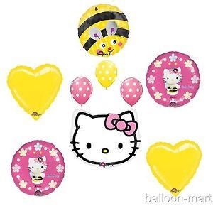 Hello Kitty Birthday Bee Balloons Set Bumble Party Supplies 1st 2nd 3rd 4th Lot