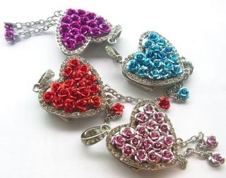 Elegant Crystal Gomstone Rose Heart 4G 8g 16GB USB Flash Memory Drives