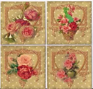 Vintage Inspired Roses Colorful Note Cards Set 8 with Envelopes Organza Bag