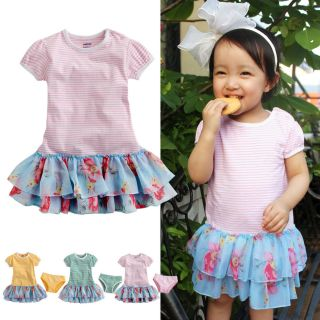 "2pcs Baby Toddler Infant Girls Tutu Chiffon Ruffle Dress Brief ""Flower Dress"""