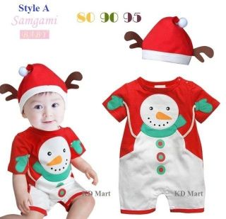 New Baby Boy Girl Santa Snowman Costume Onepiece Xmas Outfit Hat SIZE0 1 2