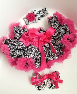 Damask Pettiskirt Skirt Headband Hoes Set Infant Toddler Baby Girl