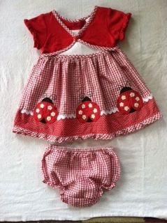 GUC Baby Toddler Girls Dress Bloomers Ladybug Set Youngland 12 Months PLZ Read