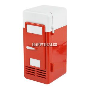 Red Mini USB LED PC Fridge Refrigerator Drink Cans Food Cooler Warmer HD23L