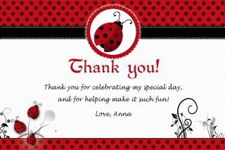 30 Personalized Little Ladybug Thank You Card Note Birthday Baby Shower Lady Bug