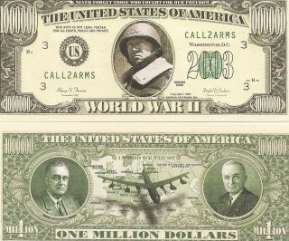 WWII World War $1 Million Dollar Bill New Commemorative Money Patton
