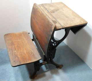 Antique Primitive Wood Cast Iron Childs School Desk Vintage Desk Chair
