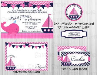 Pink Nautical Complete Printable Party Invitation Birthday Baby Shower Girl