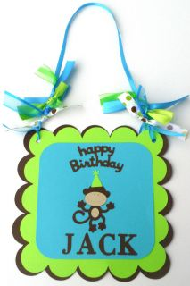 Funky Monkey Birthday Party Door Sign Personalized with Name Cricut Die Cut