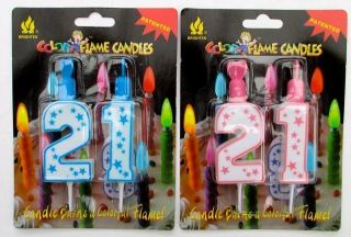 New 21st Party Candles 21st Birthday Cake Decorations Pink or Blue Flame Candle