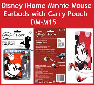 Disney iHome Minnie Mouse Red Licensed Earbuds with Carry Pouch