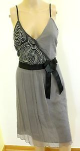 Free People Gray Black Sequin Embellish Gauze Chiffon Classy Party Dress 10