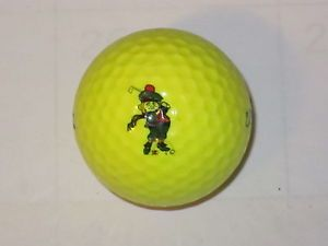 Cartoon Leprechaun Golfer Yellow Logo Golf Ball