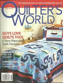 Quilter's World Magazine June 2008 6 Masculine Quilts Coffee Filter Fans