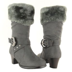 Girls Mid Calf High Heel Faux Fur Collar Suede Gray Boots Kids Shoes Size 9 4