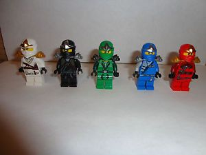 5 Lego Ninjago Green Ninja Lloyd Kai Cole ZX Jay ZX Minifigures Lot New