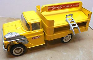 1950s Buddy L Pressed Steel Drink Coca Cola Toy Truck w Metal Hand Cart
