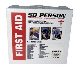 New 50 Person First Aid Metal Box Safety Kit Prepared Medical Emergency Supplies