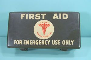 WWII Army Military Medical Department Emergency First Aid Kit Metal Box