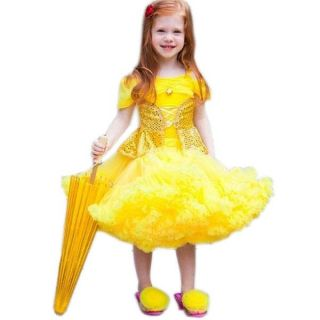 Girls Kids Princess Tutu Pettiskirt Party Fancy Dress Gold Costume Sz 2 7 Years