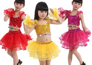 New Girls Party Sequins Latin Ballet Costume Dance Dress Set 3 8Y Clothes DS009