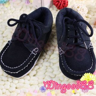 Soft Infant Toddler Baby Boy Sports Walking Shoes Stylish Dark Blue Size 2 3