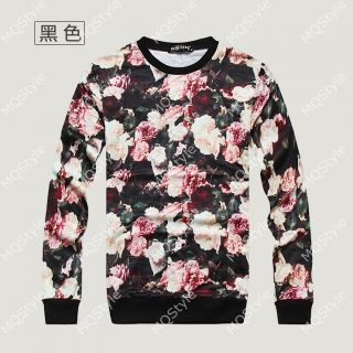 Mens Casual Crewneck Flower 3D Print Long Sleeve Hip Hop Stylish T Shirts N510