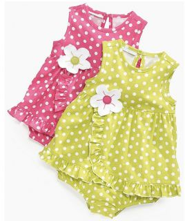 First Impressions Baby Girl Clothes Dress Pink Green Polka Dot 3 6 9 Months