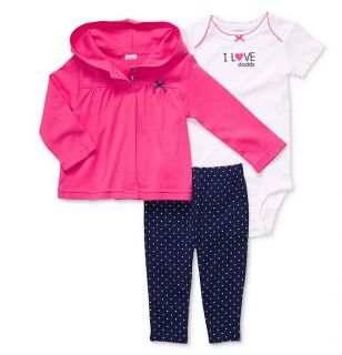 Carters Baby Girl Clothes 3 Piece Set Pink Blue Cardigan 3 6 9 12 Months